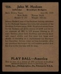 1939 Play Ball #154  Johnny Hudson  Back Thumbnail