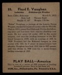 1939 Play Ball #55  Arky Vaughan  Back Thumbnail