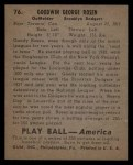 1939 Play Ball #76  Goody Rosen  Back Thumbnail