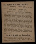 1939 Play Ball #85  John Cooney  Back Thumbnail