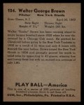 1939 Play Ball #124  Jumbo Brown  Back Thumbnail
