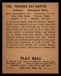 1940 Play Ball #100  Hersh Martin  Back Thumbnail