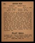 1940 Play Ball #43  Pete Fox  Back Thumbnail