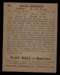 1939 Play Ball #43  Melo Almada  Back Thumbnail