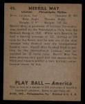 1939 Play Ball #45  Pinky May  Back Thumbnail