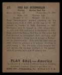 1939 Play Ball #27  Fritz Ostermueller  Back Thumbnail
