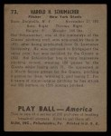 1939 Play Ball #73  Hal Schumacher  Back Thumbnail