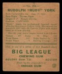1938 Goudey Heads Up #284  Rudy York  Back Thumbnail