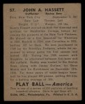 1939 Play Ball #57  Buddy Hassett  Back Thumbnail