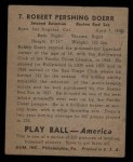 1939 Play Ball #7  Bobby Doerr   Back Thumbnail