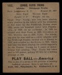 1939 Play Ball #102  Pep Young  Back Thumbnail