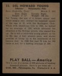 1939 Play Ball #33  Del Young  Back Thumbnail
