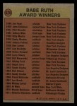 1972 Topps #626   Babe Ruth Award Back Thumbnail