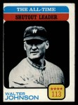 1973 Topps #476   -  Walter Johnson All-Time Shutout Leader Front Thumbnail