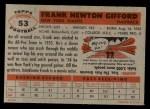 1956 Topps #53  Frank Gifford  Back Thumbnail