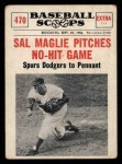 1961 Nu-Card Scoops #470   Sal Maglie   Front Thumbnail