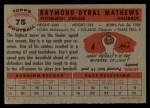 1956 Topps #75  Ray Mathews  Back Thumbnail