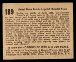 1938 Gum Inc. Horrors of War #189   Rebel Plane Bombs Loyalist Hospital Train Back Thumbnail