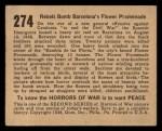 1938 Gum Inc. Horrors of War #274   Rebels Bomb Barcelona's Flower Promenade Back Thumbnail