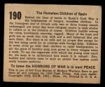 1938 Gum Inc. Horrors of War #190   The Homeless Children of Spain Back Thumbnail