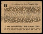 1938 Gum Inc. Horrors of War #82   US Airman Shot Down Flying for China Back Thumbnail