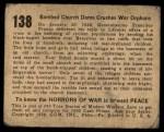 1938 Gum Inc. Horrors of War #138   Bombed Church Dome Crushes War Orphans Back Thumbnail
