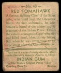1933 Goudey Indian Gum #48  Red Tomahawk   Back Thumbnail