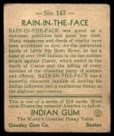 1933 Goudey Indian Gum #143   Rain-In-The Face  Back Thumbnail