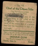 1933 Goudey Indian Gum #132   Ottoes Tribe  Back Thumbnail