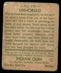 1933 Goudey Indian Gum #190   Unhorsed  Back Thumbnail
