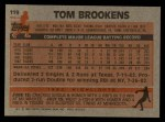 1983 Topps #119  Tom Brookens  Back Thumbnail