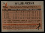 1983 Topps #136  Willie Aikens  Back Thumbnail