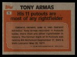 1983 Topps #1   -  Tony Armas Record Breaker Back Thumbnail