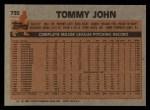 1983 Topps #735  Tommy John  Back Thumbnail