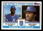 1983 Topps #471   -  Willie Wilson / Vida Blue Royals Leaders Front Thumbnail