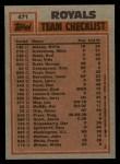 1983 Topps #471   -  Willie Wilson / Vida Blue Royals Leaders Back Thumbnail