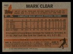 1983 Topps #162  Mark Clear  Back Thumbnail