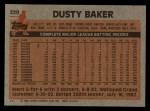 1983 Topps #220  Dusty Baker  Back Thumbnail