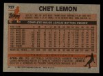 1983 Topps #727  Chet Lemon  Back Thumbnail