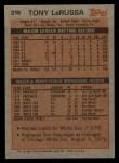 1983 Topps #216  Tony La Russa  Back Thumbnail