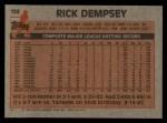 1983 Topps #138  Rick Dempsey  Back Thumbnail