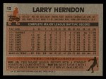 1983 Topps #13  Larry Herndon  Back Thumbnail