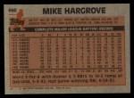 1983 Topps #660  Mike Hargrove  Back Thumbnail