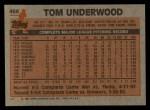 1983 Topps #466  Tom Underwood  Back Thumbnail