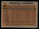 1983 Topps #582  Marshall Edwards  Back Thumbnail
