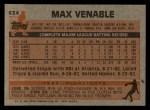 1983 Topps #634  Max Venable  Back Thumbnail