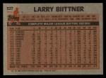 1983 Topps #527  Larry Bittner  Back Thumbnail