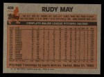1983 Topps #408  Rudy May  Back Thumbnail