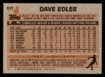 1983 Topps #622  Dave Edler  Back Thumbnail