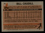1983 Topps #78  Bill Caudill  Back Thumbnail